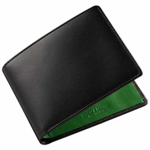 Two Colours Leather Wallet - Black & Green